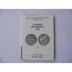 Česká numismatická společnost členské informace 3/99