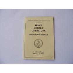 Mince, medaile, literatura
